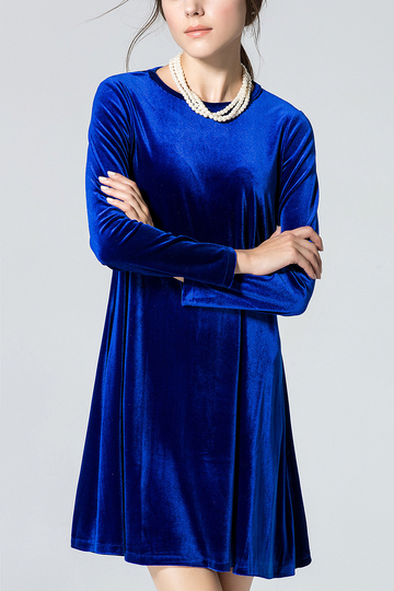 Vestido con vuelo Royal Blue Crew Collar