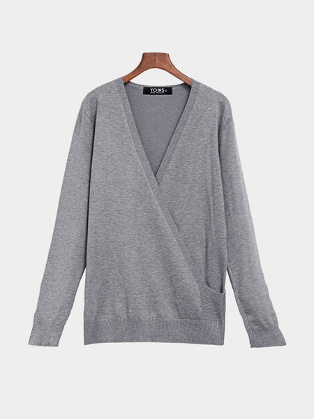 Knitted V-neck Cross Front Jumper in Grey