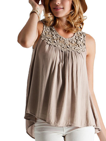 Lace Details Sleeveles T-shirt With Back Lace-up