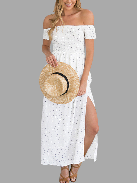 White Off The Shoulder Wave Point Maxi Dress White Slit Hem