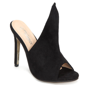 Black Suede Peep Toe High Stiletto Heels