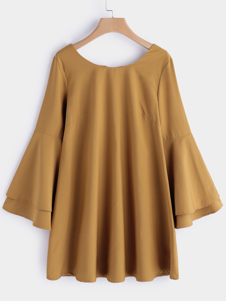 Yellow Backless Design Plain Round Neck Bell Sleeves Mini Dress