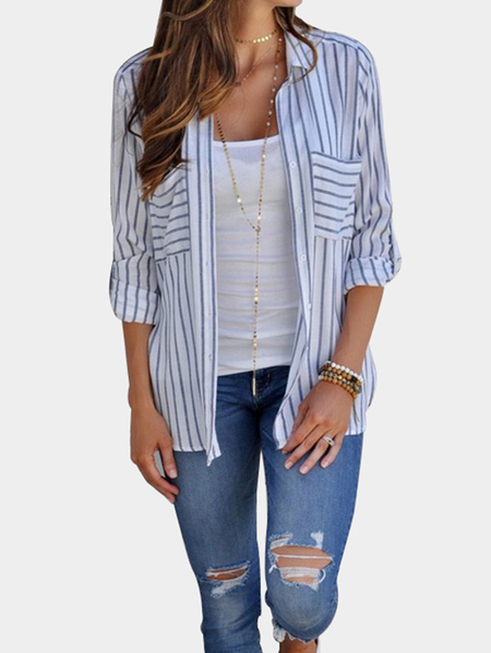 Blue Casual Stripe Button-Down Side Pockets Shirts