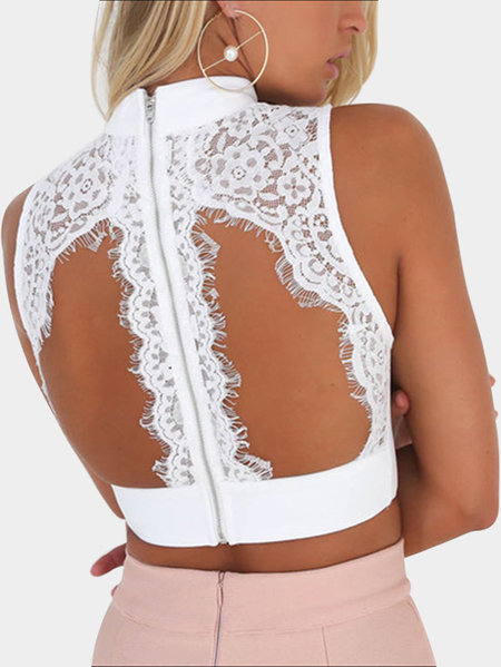 White Sexy Choker Neck Cutout Chest & Back Lace Crop Top