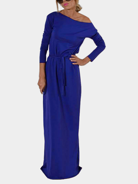 Blue One Shoulder Long Sleeves Party Dresses with Belt