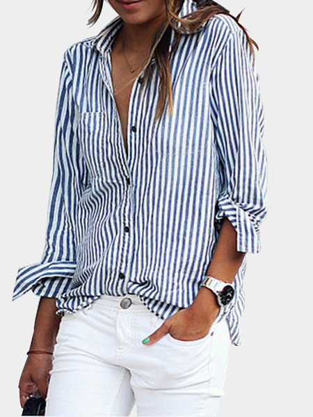 Blue Casual Striped Button-Down Shirt