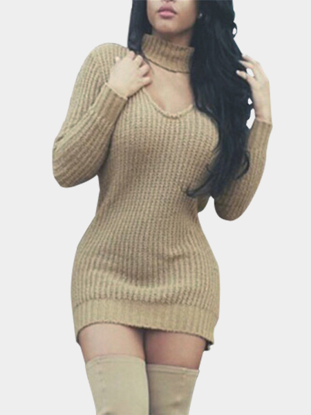 Fashion Khaki V Neck Long Sleeves Jumper