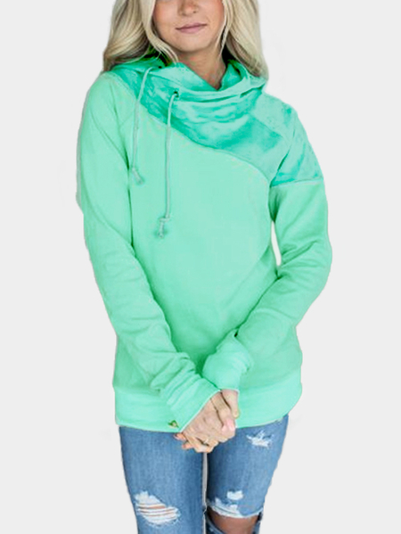 Green Hooded Long Sleeves Bodycon Hem Sweatshirts