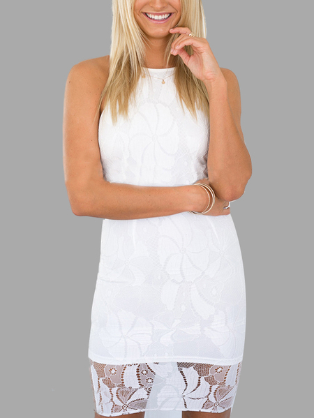 White Lace Stitching Sleeveless Irregular Hem Midi Dress