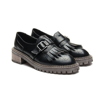 Black Leather Look Round Toe Tassel and Buckle Slip-on Loafers