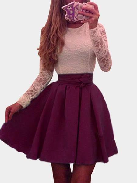 Burgundy Sexy Round Neck Pleated Hem Lace Mini Dress