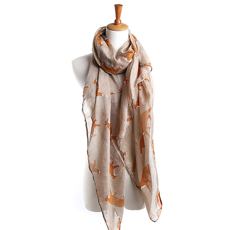 Bufanda Voile de color caqui Fox Print