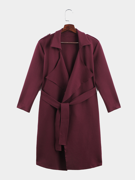 Burgundy Lapel Neck Long Length Strap Detail Winter Outerwear