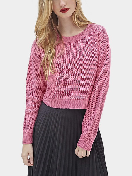 Rose Red Round Collar Dropped Shoulder Knit Sweater