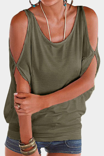Army Green Scoop Neck Cold Shoulder Tie-up no Tee traseiro