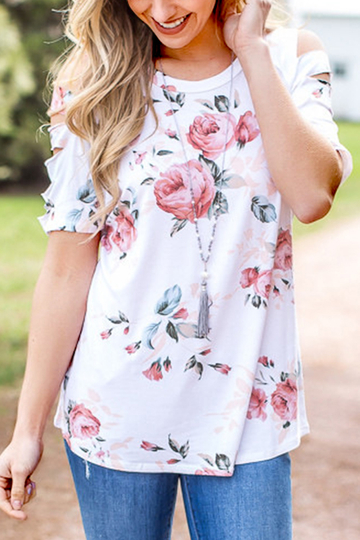 White Random Floral Printed Cut-out T-shirt