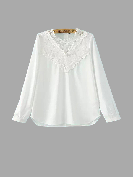 Blouse à insertion de dentelle blanche