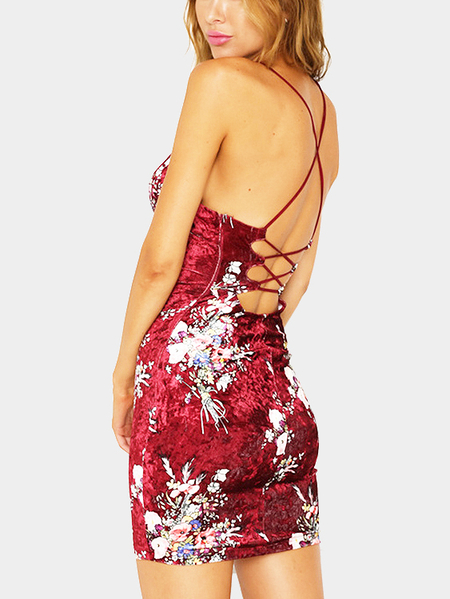 Red Sexy Random Floral Print Open Back Dress
