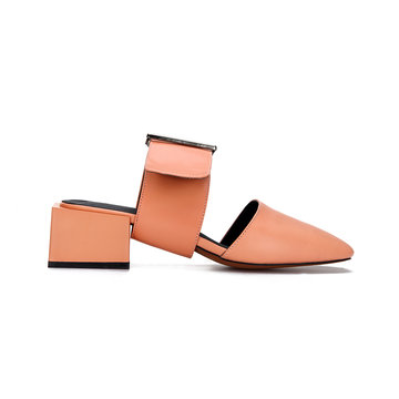 Pinkish Orange Casual Leather Look Square Heel Mules and Orange Buckle