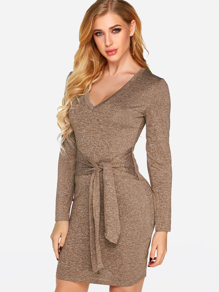 Khaki Self-tie Design V-neck Long Sleeves Dress