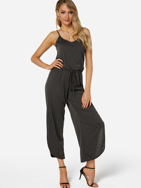 Dark Grey Spaghetti Slit Design Tight Waist Jumpsuit