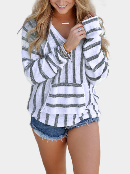 Grey Hooded Design Stripe V-neck Long Sleeves Sweatshirts