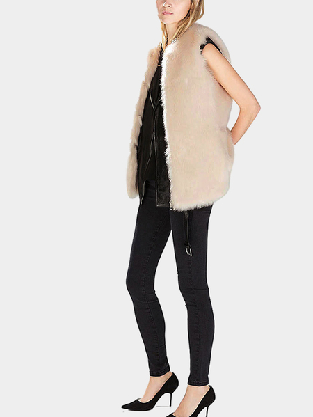 Faux Fur Gilet in Apricot