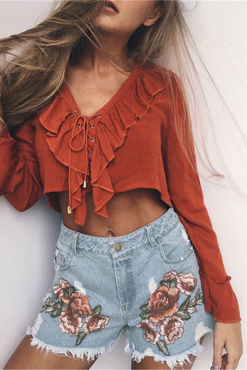 Blue Random Rose Embroidered Ripped Denim Shorts