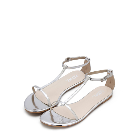 Silver Black T-bar Strap Flat Sole Simple Sandals