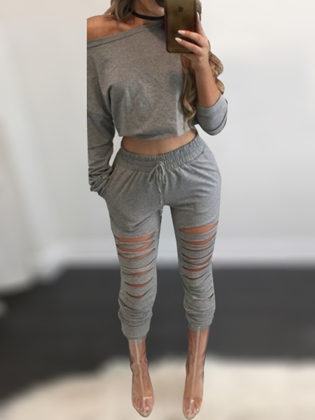 Grey One Shoulder Ripped Details Crop Top & Drawstring Waist Pant