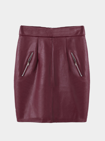 Burgundy Leather-look Mini falda con cremallera Detalles