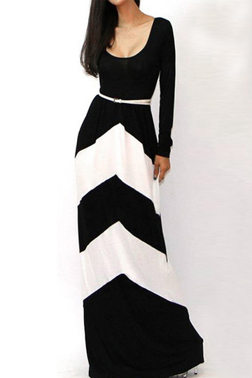 Black Stripe Long Sleeves Maxi Dress with Stretch Waistband