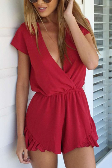 V-neck Wrap Front Playsuit en rouge