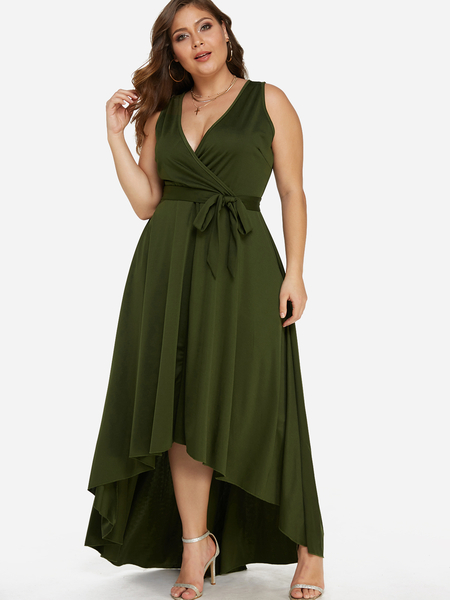 Army Green Lace-up Design V-neck Sleeveless Irregular Hem Dresses