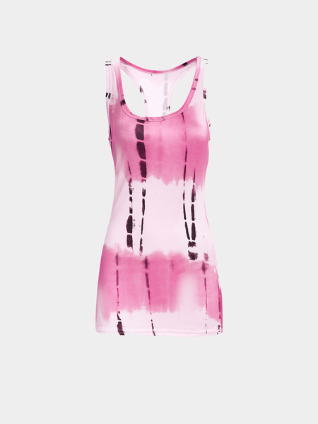 Dye Printing Vest with Scoop Neck