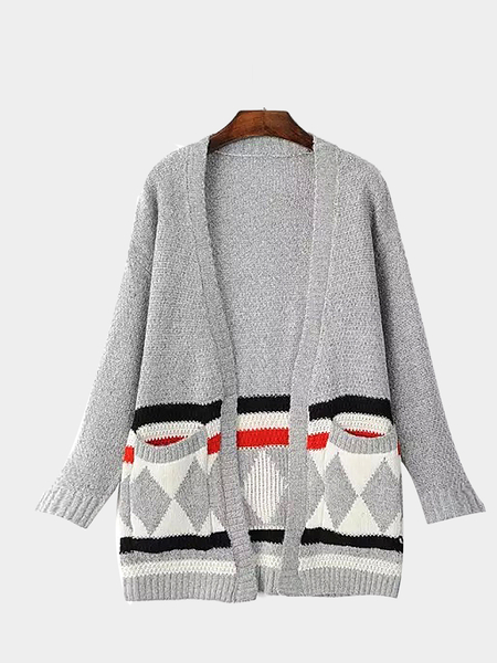 Cardigan grigio patch tasca