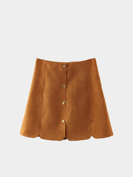 Khaki Suedette Mini Skirt