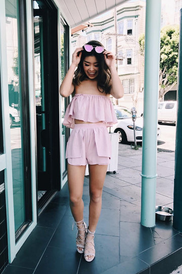Pink Sexy Off Shoulder Layered Co-ord
