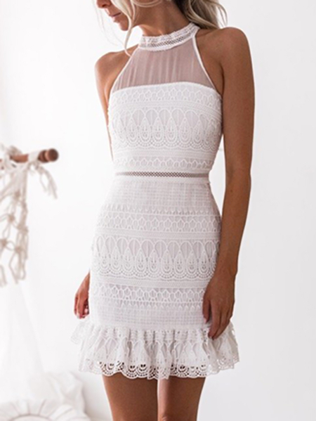 White Gorgeous Lace See-through Sleeveless Mini Dress