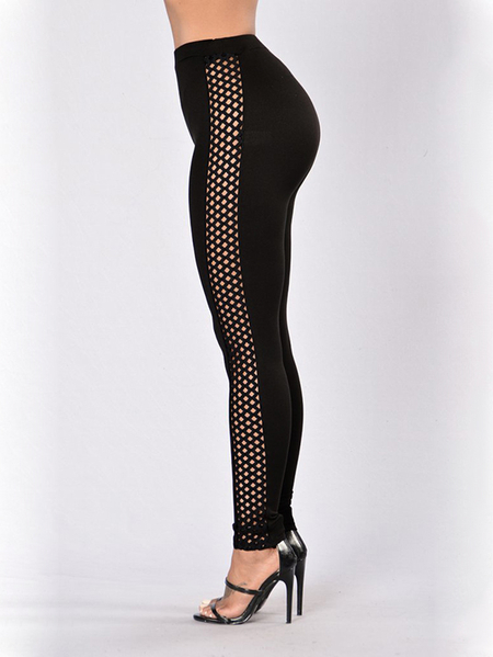 Black Hollow Design High Waisted Leggings