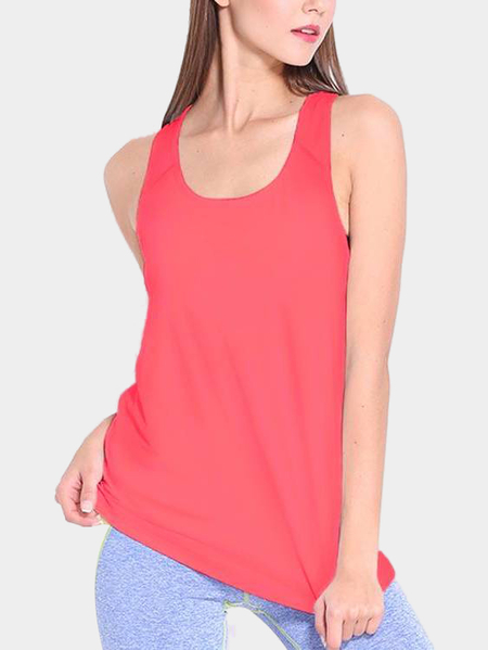 Active Scoop Neck Loose Sleeveless Vest in Light Pink