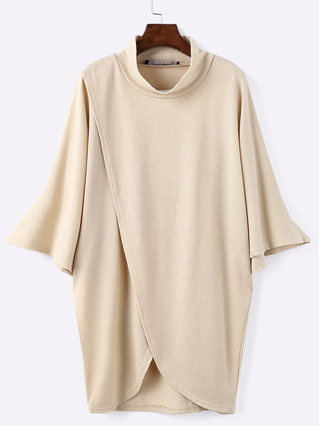 Khaki Fashion High Neck Irregular Hem Jumper