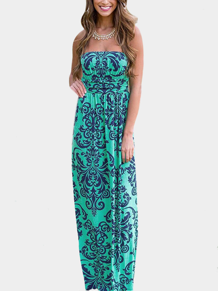 Green Random Floral Print Strapless Maxi Dress