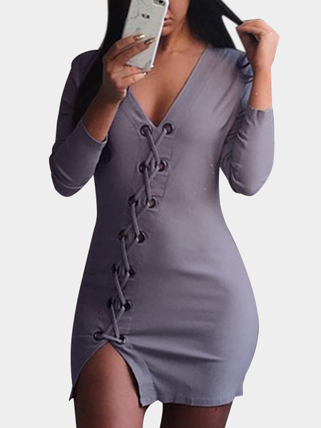 Purple V-neck Lace-up Slit Hem Asymmetrical dress
