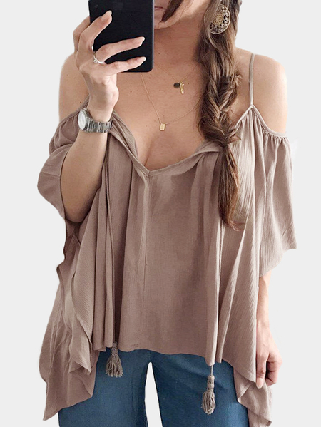 Sexy V-neck Cold Shoulder Irregular Hem Top