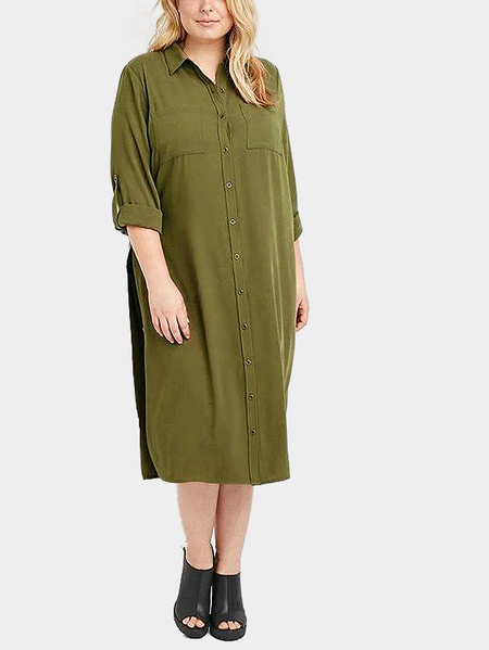 Plus Size Shirt Dress with Side Splits