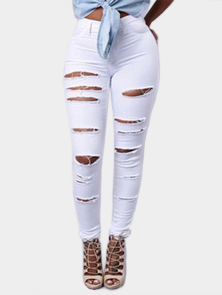 White Ripped Details Bodycon Pants