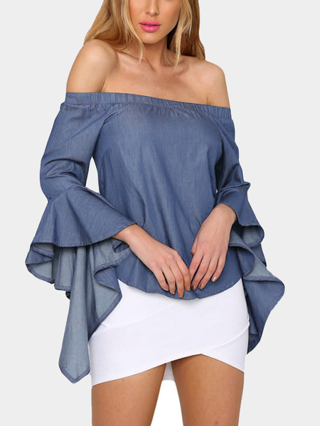 Blue Sexy Denim Off Shoulder Trumpet Sleeves Blouse