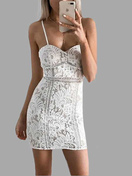 White Delicate Lace Mini Slip Dress