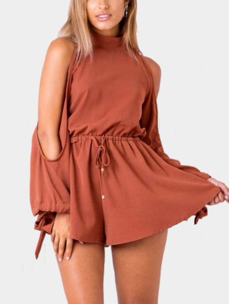 Sexy Cold Shoulder Playsuits em Orange